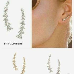 Stella & Dot Pave Ear Climbers Silver